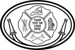 Fire Fighter, Maltese Cross  Hose, Ladder, Helmet, Fire Hydrant, Axe