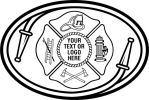 Fire Department, Maltese Cross  Hose, Ladder, Helmet, Fire Hydrant, Axe