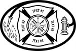 Fire Department, Maltese Cross  Hose, Fire Hydrant, White Flames, Axe, Ladder, Bugle, Helmet