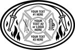 Fireman, Maltese Cross  Hose, Black Flames, Ladder, Fire Hydrant