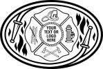 Fire Fighter, Maltese Cross  Hose, Black Flames, Ladder, Helmet, Fire Hydrant, Axe