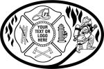 Fireman, Maltese Cross  Black Flames, Fireman, Ladder, Helmet, Fire Hydrant, Axe
